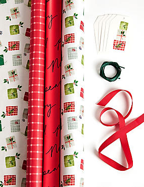 Red Christmas Gift Wrap Pack 4.5m