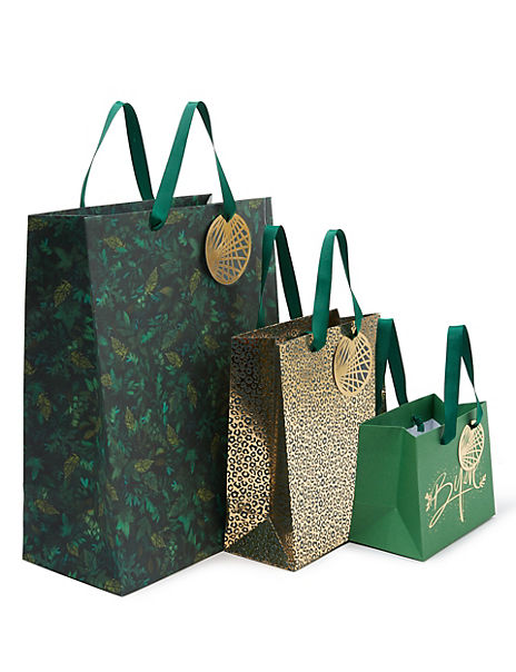 Green & Gold Christmas Gift Bags Pack of 3