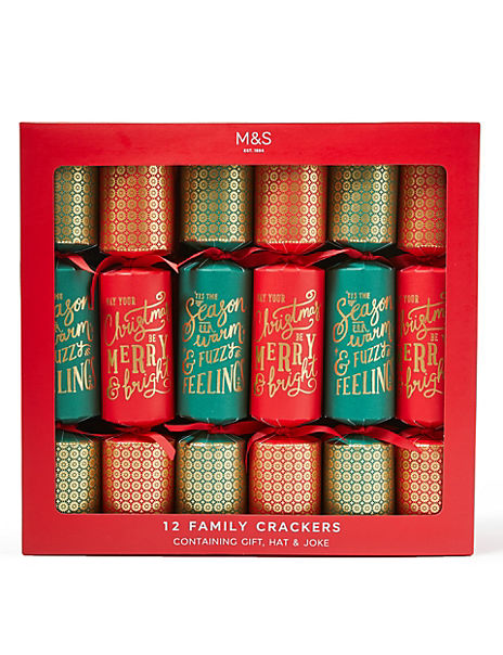 Family Pack of Red & Green Christmas Crackers - 12 Pack