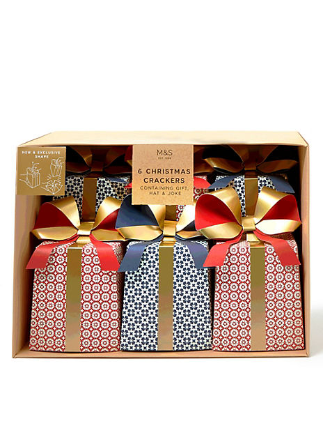 Contemporary Red, Blue & Gold Present Christmas Crackers - 6 Pack