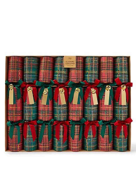Luxury Tartan Christmas Crackers - 8 Pack