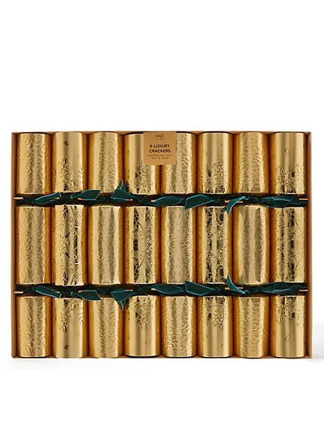 Luxury Gold & Green Christmas Crackers - 8 Pack