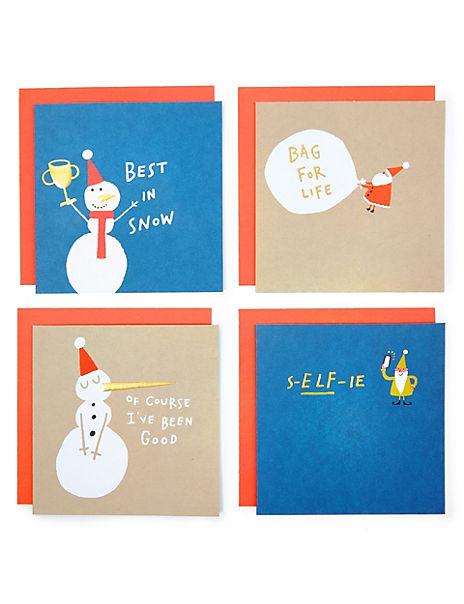 Festive Humour Charity Christmas Cards - Pack of 4