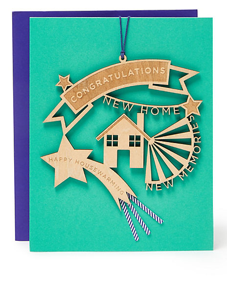 Keepsake New Home Card - with Wooden Decoration