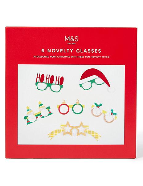 Novelty Christmas Glasses - 6 Pack
