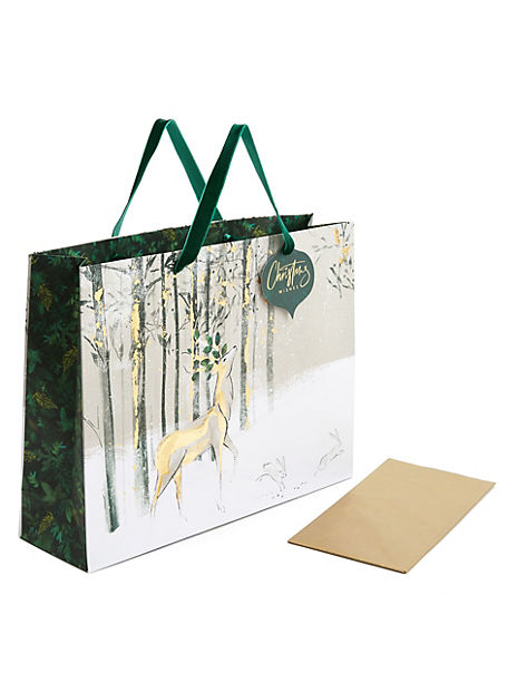 Large Stag Christmas Gift Bag with Tissue Paper