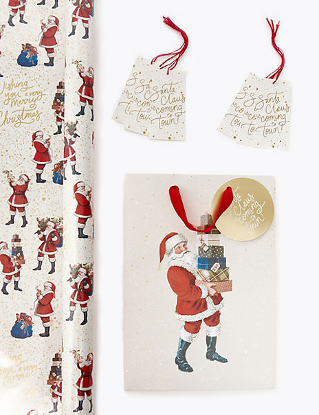 Classic Santa Christmas Wrapping Paper, Gift Bag & Tags Collection