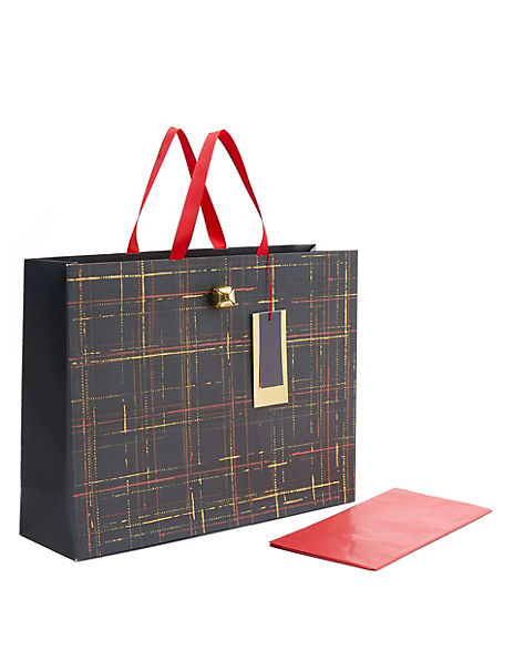Large Tartan Christmas Gift Bag with Tissue Paper
