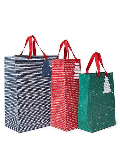 Red, Green & Blue Christmas Gift Bags Pack of 3