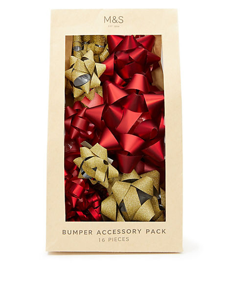Red & Gold Bumper Christmas Wrapping Accessory Pack - 16 Pieces