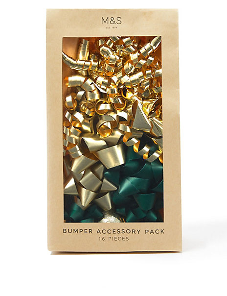 Green & Gold Bumper Christmas Wrapping Accessory Pack - 16 Pieces