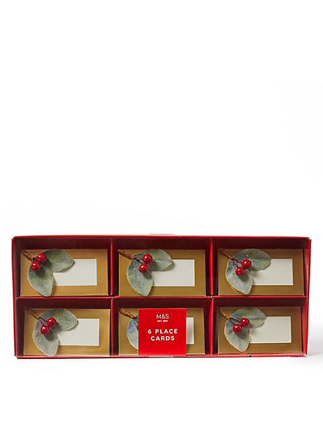 Berries & Leaves Christmas Place Cards - 6 Pack