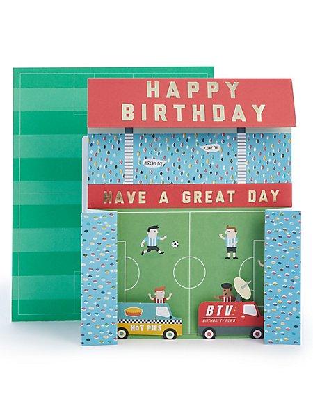 3D Football Stadium Birthday Card