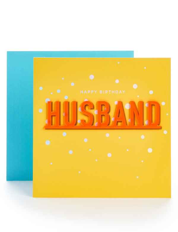 Husband Neon Letters Birthday Card