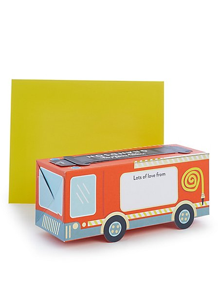 Grandson Pop-up Fire Engine Birthday Card
