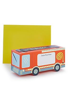 Grandson Pop-up Fire Engine Birthday Card