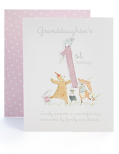 Granddaughter 1st Birthday Card Ms