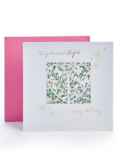 Wife Laser Cut Floral Birthday Card