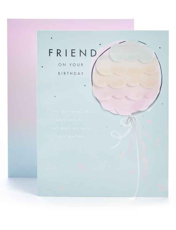 Friend Pastel Balloon Birthday Card