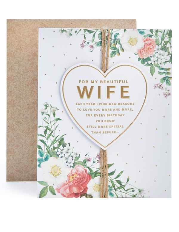 Wife Floral Heart Birthday Card