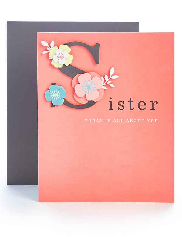 Sister Contemporary Floral Birthday Card