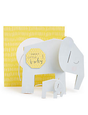 Pop-up Elephants New Baby Card