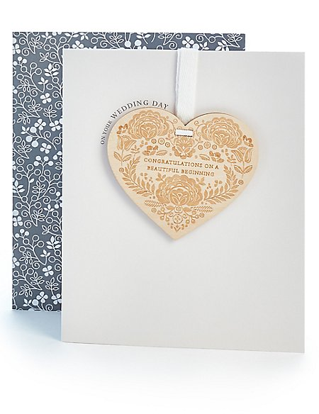 Wooden Heart Wedding Card