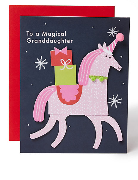 Moving Unicorn Christmas Charity Card for Granddaughter