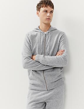 Hoodie mit Reißverschluss aus Wolle mit Cashmere