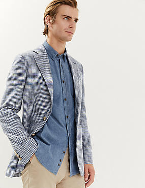 Bavlněné sako spepitovým vzorem, mírně projmutý střihu