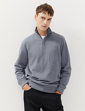 Pullover aus reiner Baumwolle mit Stehkragen und halbem Reißverschluss