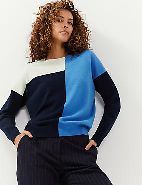 Wool Colour Block Jumper with Cashmere