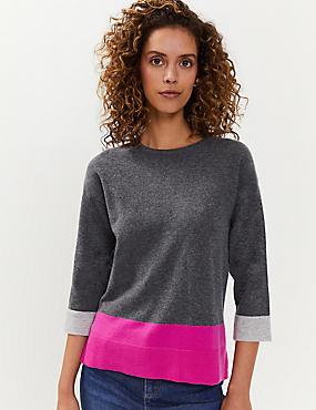 Pull en laine et cachemire à motif color block