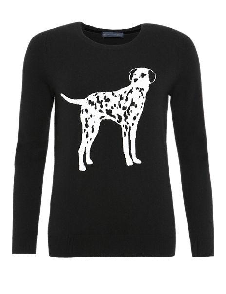 Pure Cashmere Dalmatian Print Jumper