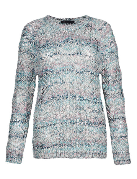 Open Knit Longline Jumper with Wool