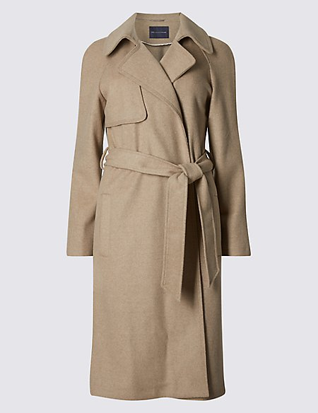 PETITE Wool Blend Belted Trench Coat