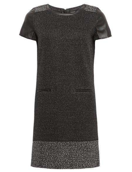 Faux Leather Trim Tweed Tunic Dress