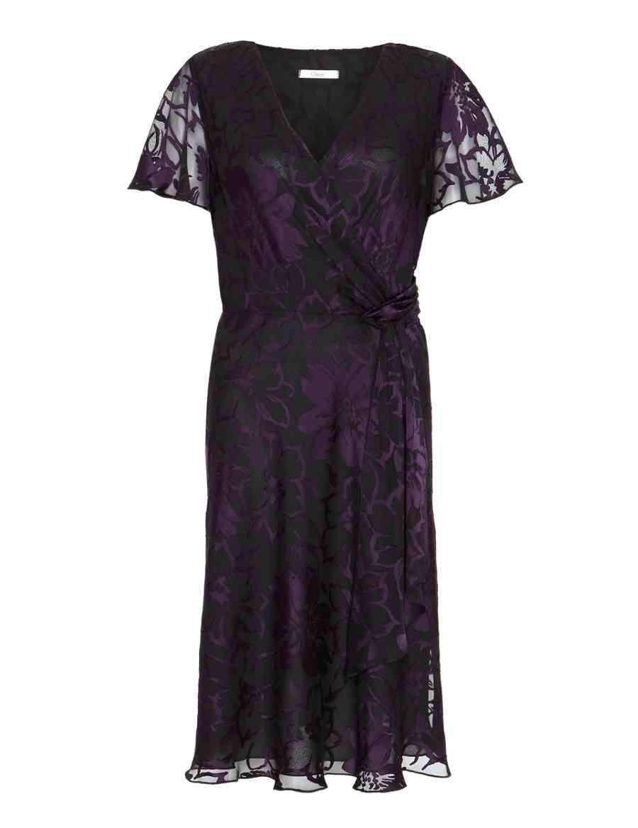 Satin Burnout Floral Mock Wrap Dress  ae786cc40