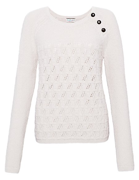 Button Neck Jumper with Wool
