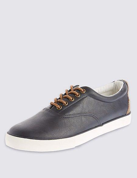Faux Leather Lace-up Pump Shoes