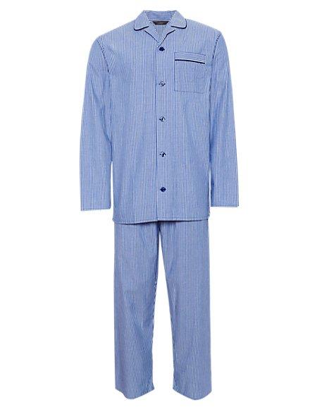 2in Longer Pure Cotton Striped Pyjamas