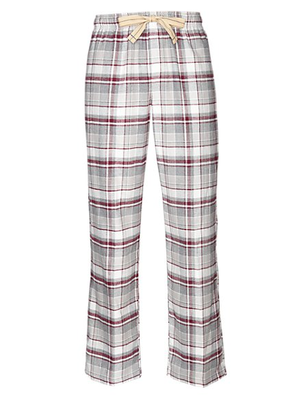 2in Longer Pure Cotton Checked Thermal Pyjama Bottoms