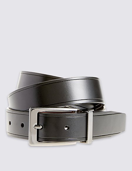 Coated Leather Score Edge Reversible Belt