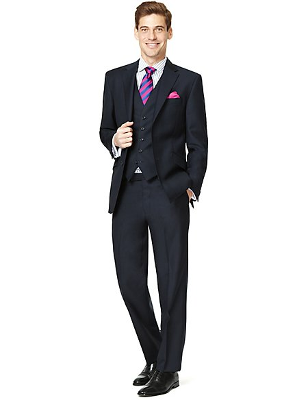 Sartorial Pure Wool 2 Button Herringbone Striped Suit