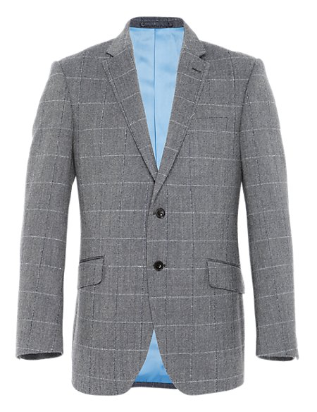 Pure New Wool 2 Button Bold Checked Jacket