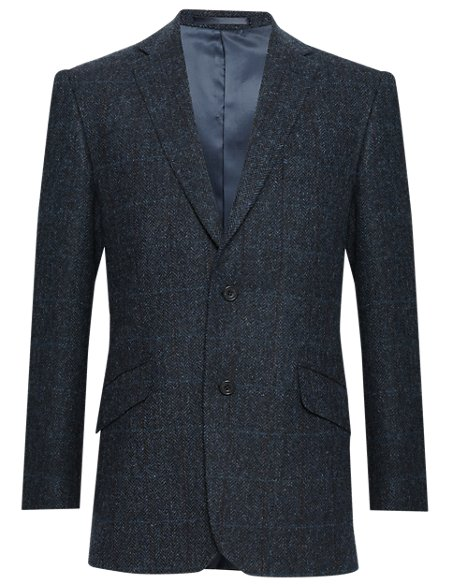 Tailored Fit Pure New Wool 2 Button Herringbone Checked Jacket