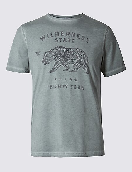 Tailored Fit Cotton Blend Bear Printed T-Shirt
