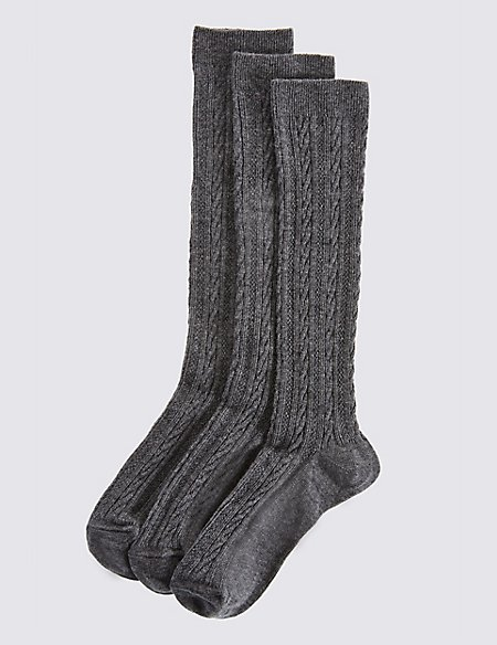 3 Pairs of Cable Knee High Socks