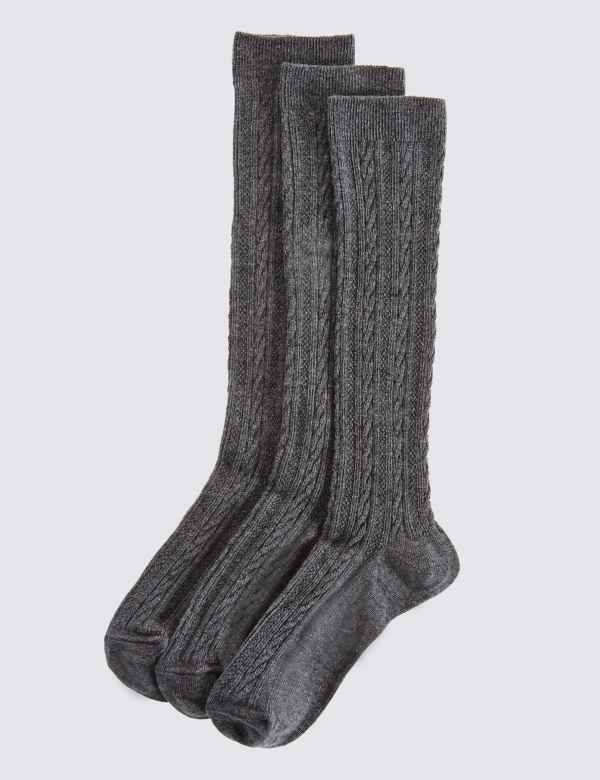 4742cd3e1 3 Pairs of Cable Knee High Socks | M&S