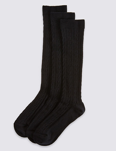3 Pairs of Cable Knit Knee High Socks